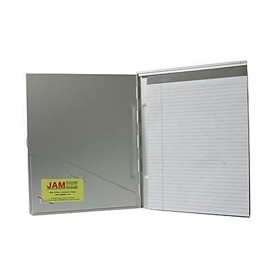 JAM Paper® Aluminum Padfolio Pad Holder, 9 3/8 x 11 7/8, Silver Metallic (7337SILVER)