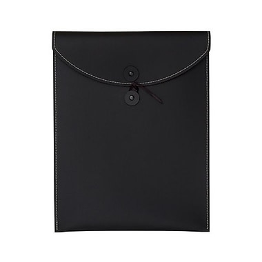 JAM Paper® Leather Envelopes with Button and String Tie Closure, 9.5 x 12.5, Black, Sold Individually (CF65LBL)