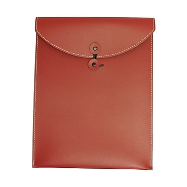 JAM Paper® Leather Envelopes with Button and String Tie Closure, 9.5 x 12.5, Red Sold Individually (CF65LR)
