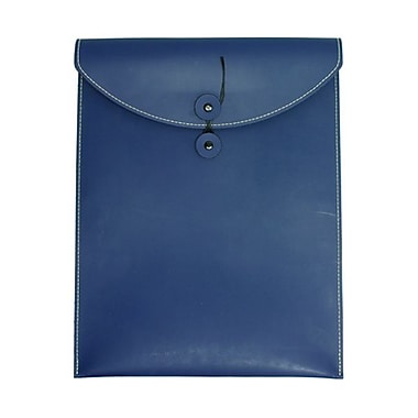 JAM Paper® Leather Envelopes with Button and String Tie Closure, 9.5 x 12.5, Blue, Sold Individually (289615207)