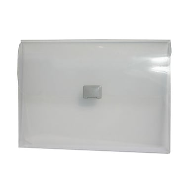 JAM Paper® Plastic Portfolio with Center Buckle Closure, 9 1/2 x 13 1/4 x 1 1/8, Clear, Sold Individually (550CLEAR)