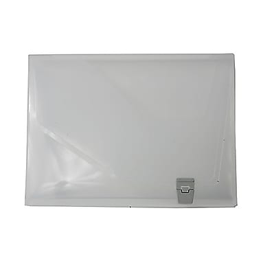 JAM Paper® Plastic Portfolio with Side Buckle Closure, 9.75 x 13.5 x 1.5, Clear, 2/Pack (527clearg)