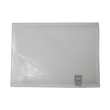 JAM Paper MD – Porte-document en plastique, fermeture à boucle latérale, 9 3/4 x 13 1/2 x 1 1/2 po, transparent, paquet de 2