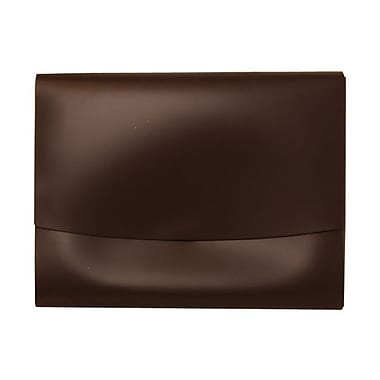 JAM Paper® Italian Leather Portfolio With Snap Closure, 10.5 x 13 x 0.75, Dark Brown, 12/Pack (2233317451B)