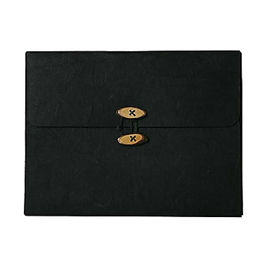 JAM Paper® Kraft Chipboard Rainforest Portfolio, Button and String Tie Closure, 9 x 11.75 x.63, Black, 2/Pack (371680g)