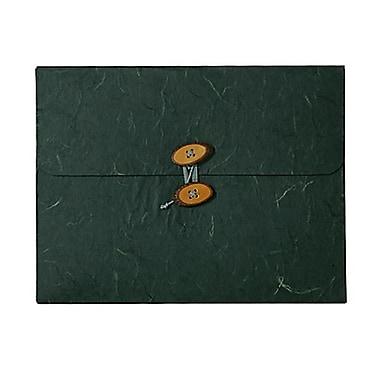 JAM Paper MD – Porte-document en carton renforcé Rainforest, boutons et à ficelle, 9 x 11 3/4 x 5/8 po, noir, paquet de 2