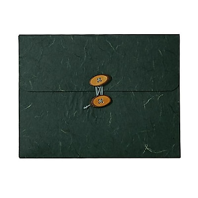 JAM Paper® Kraft Chipboard Rainforest Portfolio, Button and String Tie Closure, 9 x 11.75 x 5/8, Green, 1/pk (371678)