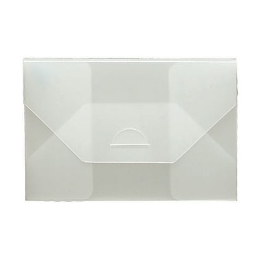 JAM Paper® Plastic Portfolio with Tuck Flap Closure, Small, 4.25 x 6.25 x.25, Clear Frost, 4/Pack (1918 009g)
