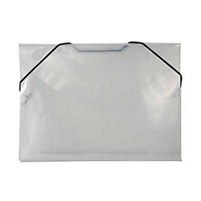 JAM Paper® Plastic Index Case Portfolio with Elastic Closure, 5 1/2 x 7 1/2 x 3/8, Clear, 100/pack (32168403C)