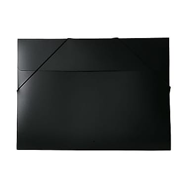 JAM Paper® Portfolio with Elastic Closure, Large, 11 x 15 x.5, Black Poly, 2/Pack (6102 027g)