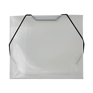 JAM Paper® Plastic CD Case Portfolio with Elastic Closure, 5 x 5 5/8 x 3/8, Clear, 24/pack (0334549B)
