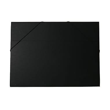 JAM Paper® Kraft Chipboard Portfolio, Elastic Closure, Jumbo, 14.5 x 19.5 x 0.5, Black Kraft, 2/Pack (6103 202g)