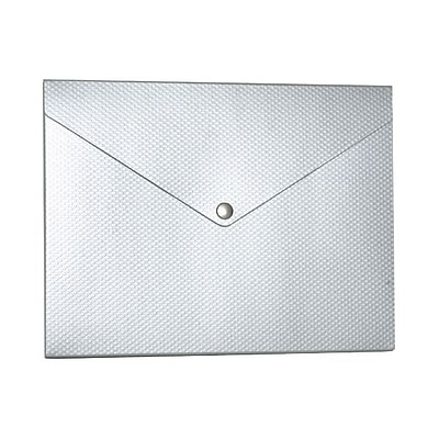 JAM Paper® Plastic Portfolio with Snap Closure, Medium, 9.25 x 12.25 x 0.5, Silver Kraft with Dots, Sold Individually (CF3RB)