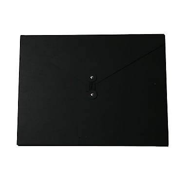 JAM Paper® Kraft Chipboard Portfolio, Button and String Tie Closure, Jumbo, 12.5 x 16.5 x 0.5, Black Kraft, 2/Pack (3039 202g)