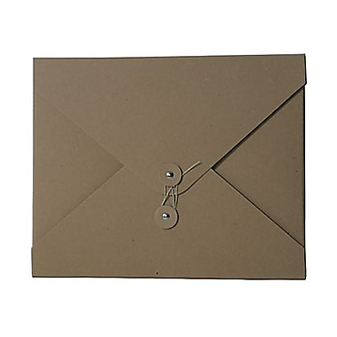 JAM Paper® Kraft Chipboard Portfolio, Button and String Tie Closure, Medium 9.25 x 12 x 0.25, Natural Kraft, 2/Pack (2011 201g)
