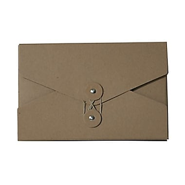 JAM Paper® Kraft Chipboard Portfolio, Button and String Tie Closure, 5.5 x 8.5 x 1, Natural Kraft, 2/Pack (3036kraftg)