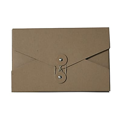 JAM Paper® Kraft Chipboard Portfolio, Button and String Tie Closure, 5.5 x 8.5 x 1, Natural Kraft, Sold Individually (3036KRAFT)