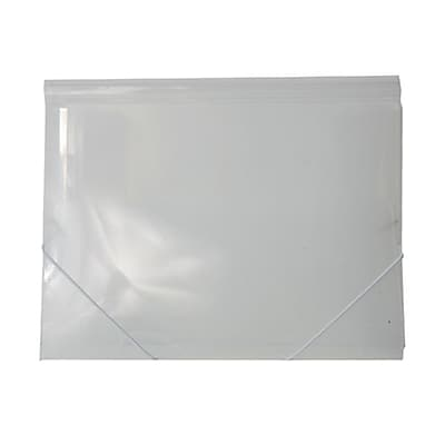 JAM Paper® Plastic Paper Holder Action Case with Elastic Closure, Letter 9 1/2 x 12 3/8, Clear, Sold Individually (56202)