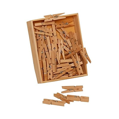 JAM Paper® Wood Clothing Pin Clips, Medium 1 1/8, Natural Brown, 50/pack (2230719108)