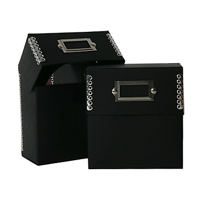 JAM Paper® CD Box, 5 x 5.5 x 2.5, Black Kraft with Metal Edge, Sold Individually (9063 202)