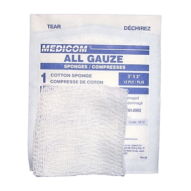Tampons de gaze stériles, 3 x 3 po, paquet de 200