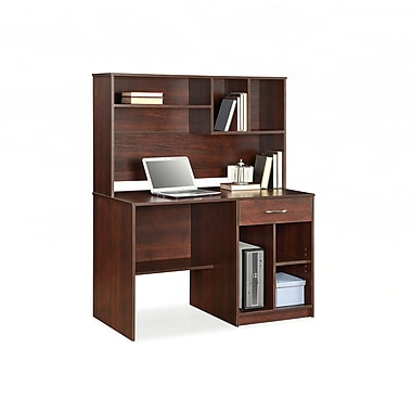 Whalen Brooklyn Work Center Hutch Brown Cherry