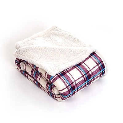 Lavish Home Fleece/Sherpa Throw Blanket, Plaid