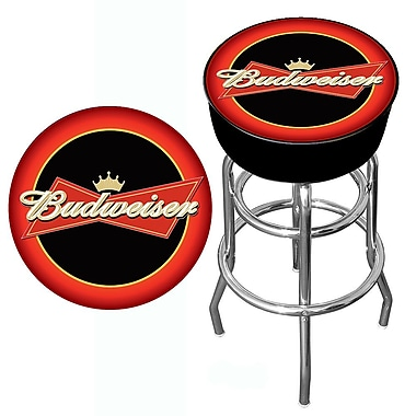 Trademark Global® Vinyl Padded Bar Stool, Red/Black, Budweiser® Bowtie