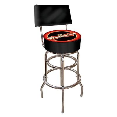 Trademark Global® Vinyl Padded Swivel Bar Stool With Back, Red/Black, Budweiser® Bowtie