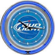 Trademark Global® Chrome Analog Neon Wall Clock, Bud Light