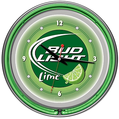 Trademark Global® Chrome Analog Neon Wall Clock, Bud Light Lime