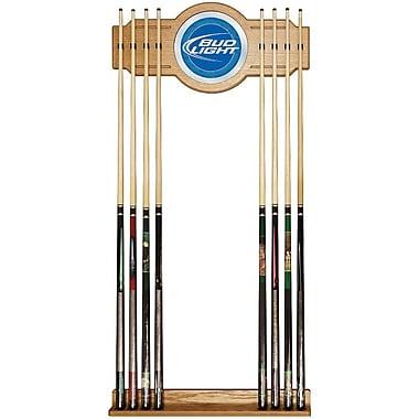 Trademark Global® Wood and Glass Billiard Cue Rack With Mirror, Bud Light, Blue
