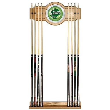 Trademark Global® Wood and Glass Billiard Cue Rack With Mirror, Bud Light, Lime