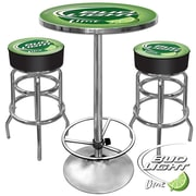 Trademark Global® Ultimate 2 Bar Stools and Table Gameroom Combo, Lime, Bud Light®