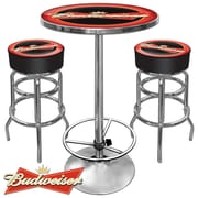 Trademark Global® Ultimate 2 Bar Stools and Table Gameroom Combo, Budweiser® Bowtie