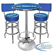 Trademark Global® Ultimate 2 Bar Stools With Back and Table Gameroom Combo, Blue, Bud Light®