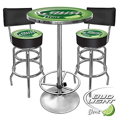Trademark Global® Ultimate 2 Bar Stools With Back and Table Gameroom Combo, Lime, Bud Light®