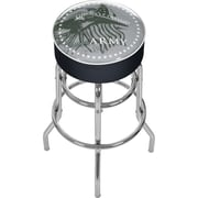Trademark Global® Vinyl Padded Swivel Bar Stool, Black, U.S. Army This We'll Defend