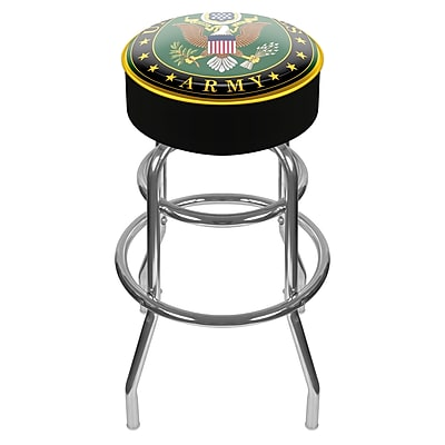 Trademark Global® Vinyl Padded Swivel Bar Stool, Black, U.S. Army Symbol