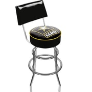Trademark Global® Vinyl Padded Swivel Bar Stool With Back, Black, U.S. Army