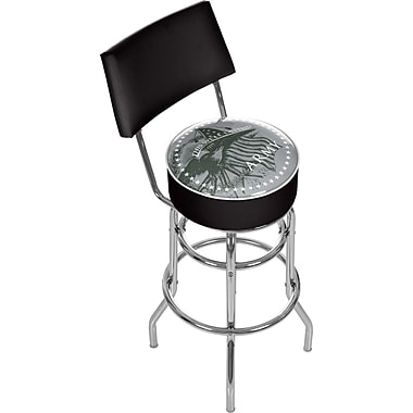 Trademark Global® Vinyl Padded Swivel Bar Stool With Back, Black, U.S Army This We'll Defend