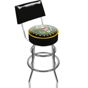 Trademark Global® Vinyl Padded Swivel Bar Stool With Back, Black, U.S. Army Symbol