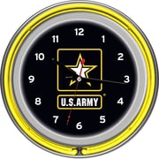 Trademark Global® Chrome Double Ring Analog Neon Wall Clock, U.S. Army