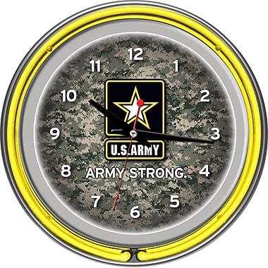 Trademark Global® Chrome Double Ring Analog Neon Wall Clock, U.S. Army Digital Camo