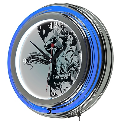 Trademark Global® Chrome Double Ring Analog Neon Wall Clock, U.S. Army The Horn Calls