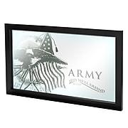 "Trademark Global® 15"" x 27"" Black Wood Framed Mirror, U.S Army This We'll Defend"