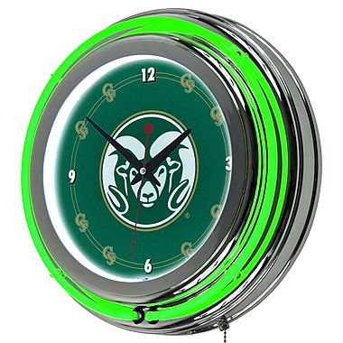 Trademark Global® Chrome Double Ring Analog Neon Wall Clock, NCAA Colorado State University