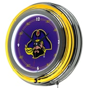 Trademark Global® Chrome Double Ring Analog Neon Wall Clock, NCAA East Carolina University