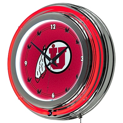 Trademark Global® Chrome Double Ring Analog Neon Wall Clock, NCAA University of Utah