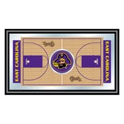 "Trademark Global® 15"" x 26"" Wood Framed Mirror, East Carolina University Framed Basketball Court"